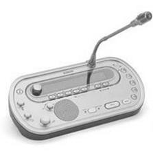 Dolmetscherpult mit Mikrofonen oder Hör- Sprech- Garnituren